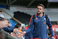 Lukasz Fabianski of Swansea arrives before the Barclays Premier League match between Swansea City and Chelsea at the Liberty Stadium, Swansea on April 9th 2016