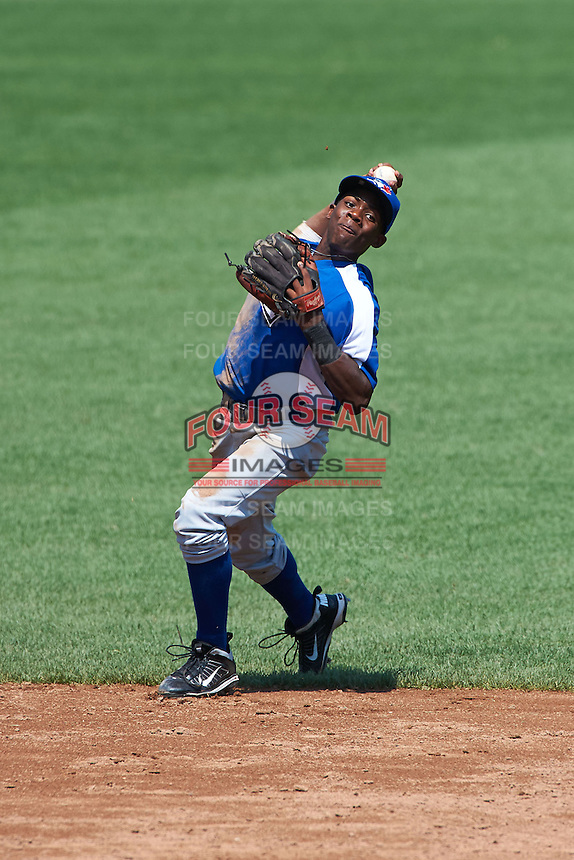 Errol Robinson #7 of St. Johns College High School in Boyds, Maryland playing for the Toronto Blue Jays scout team during the East Coast Pro Showcase at Alliance Bank Stadium on August 3, 2012 in Syracuse, New York.  (Mike Janes/Four Seam Images)