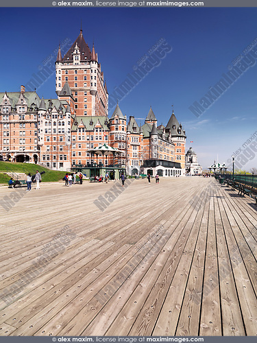 Terrasse Dufferin boardwalk terrace by the Fairmont Le Château Frontenac castle on a bright sunny day, grand hotel Chateau Frontenac, National Historic Site of Canada. Old Quebec City, Quebec, Canada. Terrasse Dufferin, Ville de Québec.