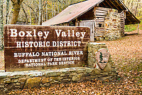 The Big Buffalo Valley Historic District, also known as the Boxley Valley Historic District, is notable as a cultural landscape in Buffalo National River. It comprises the Boxley Valley in northern Arkansas, near the town of Boxley. The valley includes a number of family-operated farms, primarily dating between 1870 and 1930. The farms are situated on either side of the road that parallels the river, Arkansas Highway 43. Many of these farms are still operated by the descendants of the original homesteaders. However, of fifty residences in the valley, thirty were vacant in 1987, at the time of historic designation.