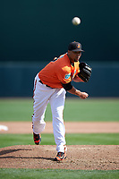 Baltimore Orioles relief pitcher Pedro Beato (57) delivers a pitch during a Spring Training game against the Minnesota Twins on March 7, 2016 at Ed Smith Stadium in Sarasota, Florida.  Minnesota defeated Baltimore 3-0.  (Mike Janes/Four Seam Images)