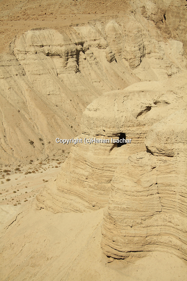 Dead Sea valley, cave 4 at Qumran, site of the Dead Sea Scrolls