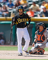 Shane Robinson (9) of the Salt Lake Bees at bat against the Fresno Grizzlies in Pacific Coast League action at Smith's Ballpark on April 16, 2017 in Salt Lake City, Utah. Salt Lake defeated Fresno 5-4. (Stephen Smith/Four Seam Images)
