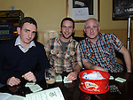 Vinnie Corrigan, Harry McArdle and Greg Campbell pictured at the St Feckins race night in the waterside Inn. Photo: Colin Bell/pressphotos.ie
