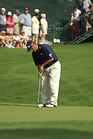 Masters Golf Tournament 2005, Augusta National Georgia, USA. Chris Dimarco putting on the 16th green, Redbud.<br /> <br /> Champion 2005 - Tiger Woods <br /> <br /> Note: There is no property release or model release available for this image.