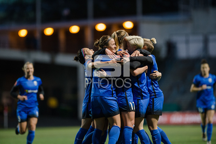 Seattle, WA - April 15th, 2017: Megan Rapinoe, Seattle Reign FC celebrates during a regular season National Women's Soccer League (NWSL) match between the Seattle Reign FC and Sky Blue FC at Memorial Stadium.