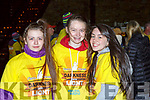 Caoimhe O'Shea, Shona Murphy and Hailey Riordan Killarney at Nathans Walk Darkness into Light walk on Saturday morning