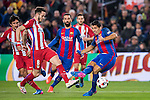 Luis Suarez (r) of FC Barcelona fights for the ball with Saul Niguez Esclapez of Atletico de Madrid during their Copa del Rey 2016-17 Semi-final match between FC Barcelona and Atletico de Madrid at the Camp Nou on 07 February 2017 in Barcelona, Spain. Photo by Diego Gonzalez Souto / Power Sport Images