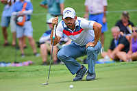 Pablo Larrazabal (ESP) lines up his putt on 4 during Friday's round 2 of the PGA Championship at the Quail Hollow Club in Charlotte, North Carolina. 8/11/2017.<br /> Picture: Golffile | Ken Murray<br /> <br /> <br /> All photo usage must carry mandatory copyright credit (&copy; Golffile | Ken Murray)
