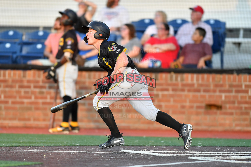 Bristol Pirates Aaron Shackelford (13) runs to first base during game two of the Appalachian League, West Division Playoffs against the Johnson City Cardinals at TVA Credit Union Ballpark on August 31, 2019 in Johnson City, Tennessee. The Cardinals defeated the Pirates 7-4 to even the series at 1-1. (Tony Farlow/Four Seam Images)