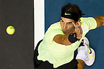 BANGKOK, THAILAND - SEPTEMBER 30:  Rafael Nadal of Spain serves against Ruben Bemelmans of Belgium during the Day 6 of the PTT Thailand Open at Impact Arena on September 30, 2010 in Bangkok, Thailand. Photo by Victor Fraile / The Power of Sport Images