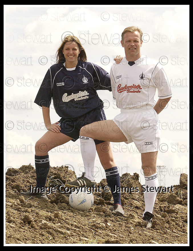 11/6/03           Copyright Pic : James Stewart              .File Name : stewart-ffc strip 09.FALKIRK PLAYER MANAGER JOHN YOGI HUGHES MODELS THE NEW FALKIRK AWAY STRIP WHILE KELLY ROY, WHO RUNS THE FALKIRK BABES CHEERLEADERS, MODELS THE NEW HOME STRIP AT THE SITE OF THE NEW STADIUM AT WESTFIELD..... .PAYMENTS SHOULD BE MADE TO :-.James Stewart Photo Agency, 19 Carronlea Drive, Falkirk. FK2 8DN      Vat Reg No. 607 6932 25.Office : +44 (0)1324 570906     .Mobile : + 44 (0)7721 416997.Fax     :  +44 (0)1324 570906.E-mail : jim@jspa.co.uk.If you require further information then contact Jim Stewart on any of the numbers above.........