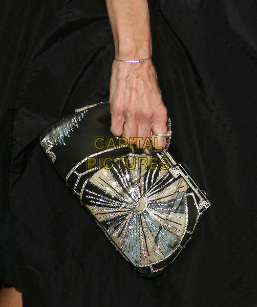 "SARAH JESSICA PARKER's bag.The New York Premiere of ""Harry Potter and the Deathly Hallows Part I"" held at Alice Tully Hall - Lincoln Center, New York, NY, USA..sjp black silver beads beaded hand ring veins bracelet clutch bag green.CAP/LNC/TOM.©TOM/LNC/Capital Pictures."