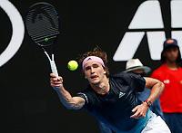 15th January 2019, Melbourne Park, Melbourne, Australia; Australian Open Tennis, day 2; Alexander Zverev of Germany returns the ball during a match against Aljaz Bedene of Slovenia