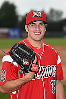Batavia Muckdogs pitcher Chris Sadberry (32) poses for a photo before a game against the Jamestown Jammers on July 7, 2014 at Dwyer Stadium in Batavia, New York.  Batavia defeated Jamestown 9-2.  (Mike Janes/Four Seam Images)