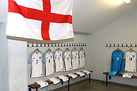 St George's Flag on display in the England dressing room prior to kick-off during England Under-18 vs Ivory Coast Under-20, Toulon Tournament Final Football at Stade de Lattre-de-Tassigny on 10th June 2017
