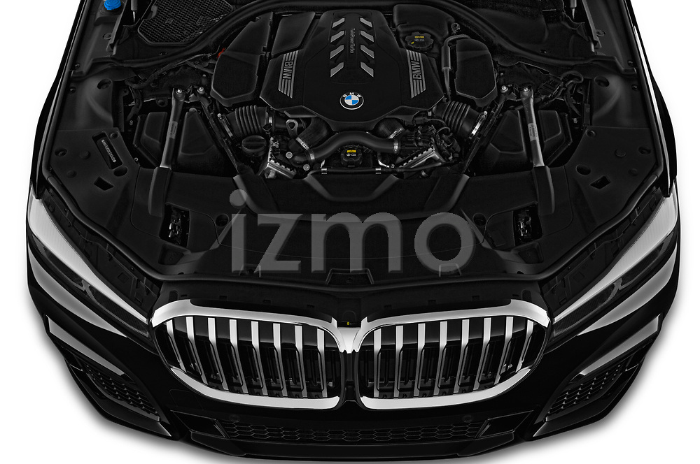 Car stock 2020 BMW 7 Series M Sport 4 Door Sedan engine high angle detail view