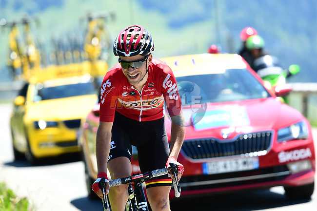 Tony Gallopin (FRA) Lotto-Soudal out front alone during Stage 8 of the Criterium du Dauphine 2017, running 115km from Albertville to Plateau de Solaison, France. 11th June 2017. <br /> Picture: ASO/A.Broadway | Cyclefile<br /> <br /> <br /> All photos usage must carry mandatory copyright credit (&copy; Cyclefile | ASO/A.Broadway)