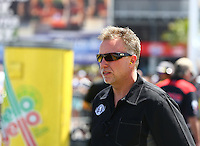 Apr 11, 2015; Las Vegas, NV, USA; Brian Husen crew chief for NHRA top fuel driver Shawn Langdon during qualifying for the Summitracing.com Nationals at The Strip at Las Vegas Motor Speedway. Mandatory Credit: Mark J. Rebilas-