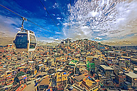 Teleferico na favela do Complexo do Alemao. Rio de Janeiro. 2015. Foto de Sergio Amaral.