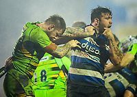 Northampton Saints' Teimana Harrison headbutts Bath Rugby's Nathan Catt<br /> <br /> Photographer Bob Bradford/CameraSport<br /> <br /> Anglo-Welsh Cup Semi Final - Bath Rugby v  Northampton Saints - Friday 9th March 2018 - The Recreation Ground - Bath<br /> <br /> World Copyright &copy; 2018 CameraSport. All rights reserved. 43 Linden Ave. Countesthorpe. Leicester. England. LE8 5PG - Tel: +44 (0) 116 277 4147 - admin@camerasport.com - www.camerasport.com