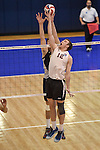 27 APR 2014: Keaton Piepre (12) of Springfield College blocks against Juniata College during the Division III Men's Volleyball Championship held at the Kennedy Sports Center in Huntingdon, PA. Springfield defeated Juniata 3-0 to win the national title.  Mark Selders/NCAA Photos