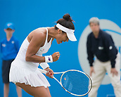 June 13th 2017, Nottingham, England; WTA Aegon Nottingham Open Tennis Tournament day 4;  Heather Watson of Great Britain shows determination during her match against Alison Riske of USA