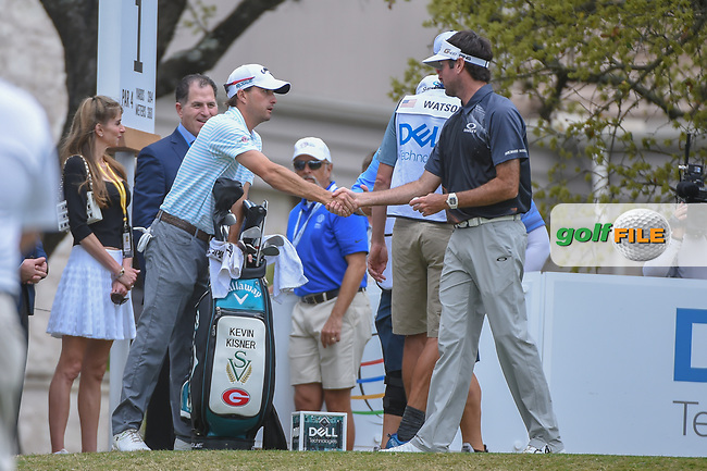 Kevin Kisner (USA) and Bubba Watson (USA) shake hands before their championship match during day 5 of the World Golf Championships, Dell Match Play, Austin Country Club, Austin, Texas. 3/25/2018.<br /> Picture: Golffile | Ken Murray<br /> <br /> <br /> All photo usage must carry mandatory copyright credit (© Golffile | Ken Murray)