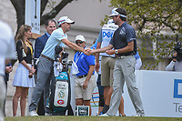 Kevin Kisner (USA) and Bubba Watson (USA) shake hands before their championship match during day 5 of the World Golf Championships, Dell Match Play, Austin Country Club, Austin, Texas. 3/25/2018.<br /> Picture: Golffile | Ken Murray<br /> <br /> <br /> All photo usage must carry mandatory copyright credit (&copy; Golffile | Ken Murray)