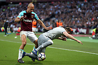 Pablo Zabaleta of West Ham United and Phil Jones of Manchester United during West Ham United vs Manchester United, Premier League Football at The London Stadium on 10th May 2018