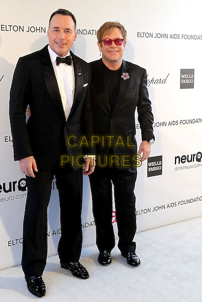 David Furnish, Elton John.The 21st Annual Elton John AIDS Foundation Academy Awards Viewing Party held at The City of West Hollywood Park in West Hollywood, California, USA..February 24th, 2013.oscars full length suit tuxedo white shirt couple life partners pink sunglasses shades brooch flower black .CAP/ADM/KB.©Kevan Brooks/AdMedia/Capital Pictures.