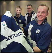 The Scotland U19 Cricket squad get their first view of the national strip for the forthcoming ICC U19 Cricket World Cup, on the eve of departure for the tournament in New Zealand. Team captain Robert More (right) of Heriots, and his vice-captain, Stephen Gilmour (left) of West of Scotland took the chance to show the newly designed playing kit to the national coach, Mike Hendrick. Hendrick, who played first-class cricket at Notts and Derby and was awarded 30 caps for England, will lead the squad, firstly, to Tasmania for  training and warm-up games, and then on to the finals in New Zealand. ....  Pic Donald MacLeod 03.01.02
