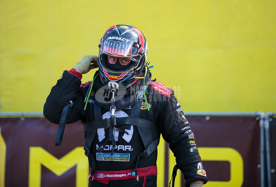 May 6, 2018; Commerce, GA, USA; NHRA funny car driver Matt Hagan during the Southern Nationals at Atlanta Dragway. Mandatory Credit: Mark J. Rebilas-USA TODAY Sports