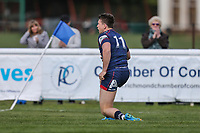 Jason Harries of London Scottish sees his try ruled out during the Greene King IPA Championship match between London Scottish Football Club and Nottingham Rugby at Richmond Athletic Ground, Richmond, United Kingdom on 15 April 2017. Photo by David Horn.