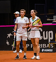 Den Bosch, The Netherlands, Februari 10, 2019,  Maaspoort , FedCup  Netherlands - Canada, doubles match Sunday : Demi Schuurs (L) and Bibiane Schoofs (NED)<br /> Photo: Tennisimages/Henk Koster
