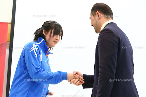 (L-R)<br /> Haruka Kitaguchi,<br /> Koji Murofushi,<br /> JANUARY 9, 2015 - Athletic : <br /> Certification ceremony of Diamond athletes is held at Ajinomoto National Training Center, Tokyo, Japan.<br /> Diamond athletes is players who would play an active part in Tokyo Olympic 2020.<br /> (Photo by Shingo Ito/AFLO SPORT) [1195]
