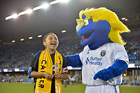 San Jose, CA - Wednesday September 19, 2018: Q, mascot prior to a Major League Soccer (MLS) match between the San Jose Earthquakes and Atlanta United FC at Avaya Stadium.