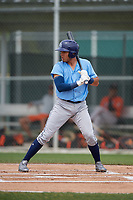 Tampa Bay Rays Jonathan Aranda (96) bats during a Minor League Spring Training game against the Baltimore Orioles on March 16, 2019 at the Buck O'Neil Baseball Complex in Sarasota, Florida.  (Mike Janes/Four Seam Images)