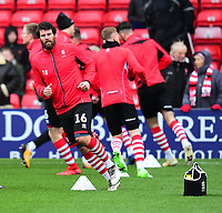 Lincoln City's Michael Bostwick during the pre-match warm-up<br /> <br /> Photographer Andrew Vaughan/CameraSport<br /> <br /> The EFL Sky Bet League Two - Lincoln City v Grimsby Town - Saturday 19 January 2019 - Sincil Bank - Lincoln<br /> <br /> World Copyright © 2019 CameraSport. All rights reserved. 43 Linden Ave. Countesthorpe. Leicester. England. LE8 5PG - Tel: +44 (0) 116 277 4147 - admin@camerasport.com - www.camerasport.com