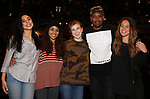 Lauren Boyd, Sasha Hollinger, Eliza Ohman, Bryan Terrell Clark and Elizabeth Judd during their #EduHam Q & Aon January 31, 2018 at the Richard Rodgers Theatre in New York City.