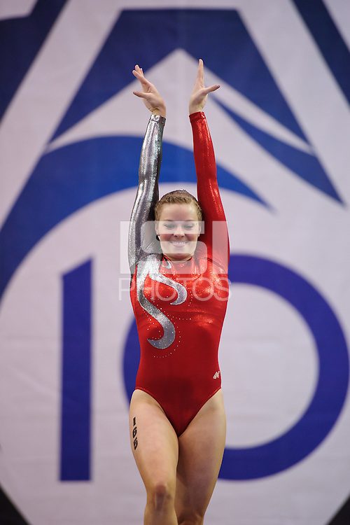 LOS ANGELES, CA - March 19, 2011:  Stanford's Shelley Alexander competes on the balance beam during the Pac-10 Championship at UCLA's Pauley Pavilon.   Stanford placed fourth in the competition.