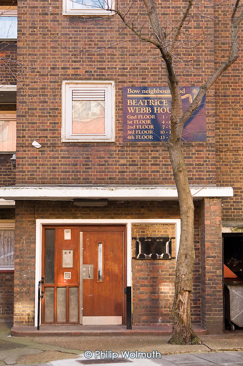 Beatrice Webb House, one of the Parkside group of estates in Tower Hamlets, East London, where tenant campaigners won an injunction in February 2007 preventing the council completing the sell-off of more than 2000 council homes to a subsidiary of housing group Circle Anglia.