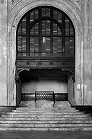 Ornate faux marble stairway in the abandoned railway station on 16th St. in Oakland, California that was built built in 1912 for the Southern Pacific Railroad and later used by Amtrak.
