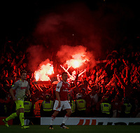 The lively FC Koln crowd behind Alexis Sanchez of Arsenal during the UEFA Europa League match between Arsenal and FC Koln at the Emirates Stadium, London, England on 14 September 2017. Photo by Andrew Aleks.