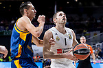 Real Madrid Fabien Causeur and Herbalife Gran Canaria Xavi Rabaseda during Turkish Airlines Euroleague match between Real Madrid and Herbalife Gran Canaria at WiZink Center in Madrid, 20 November 2018. (ALTERPHOTOS/Borja B.Hojas)