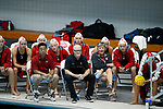 INDIANAPOLIS, IN - MAY 14: The Stanford University women's water polo team watches during the Division I Women's Water Polo Championship held at the IU Natatorium-IUPUI Campus on May 14, 2017 in Indianapolis, Indiana. Stanford edges UCLA, 8-7, to win fifth women's water polo title in the past seven years. (Photo by Joe Robbins/NCAA Photos/NCAA Photos via Getty Images)