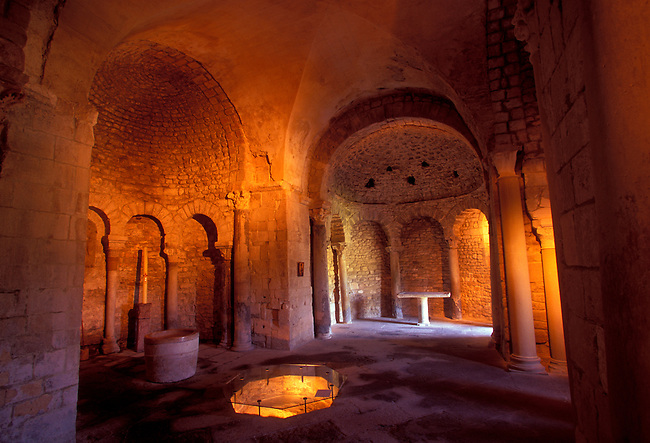 Interior of the Baptistry in the medieval village of Venasque, Vaucluse, Provence Alpes Cote dAzur, France, Europe