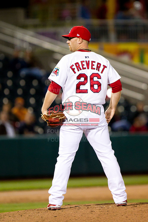 Matthew Frevert (26) of the Springfield Cardinals reads the pitch sign during a game against the Tulsa Drillers on April 29, 2011 at Hammons Field in Springfield, Missouri.  Photo By David Welker/Four Seam Images.