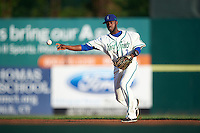 Hartford Yard Goats second baseman Juan Ciriaco (2) throws to first base during the second game of a doubleheader against the Trenton Thunder on June 1, 2016 at Sen. Thomas J. Dodd Memorial Stadium in Norwich, Connecticut.  Trenton defeated Hartford 2-1.  (Mike Janes/Four Seam Images)