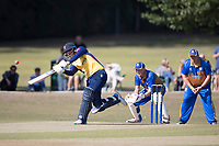 Rishi Patel of Essex drives through the off side during Upminster CC vs Essex CCC, Benefit Match Cricket at Upminster Park on 8th September 2019